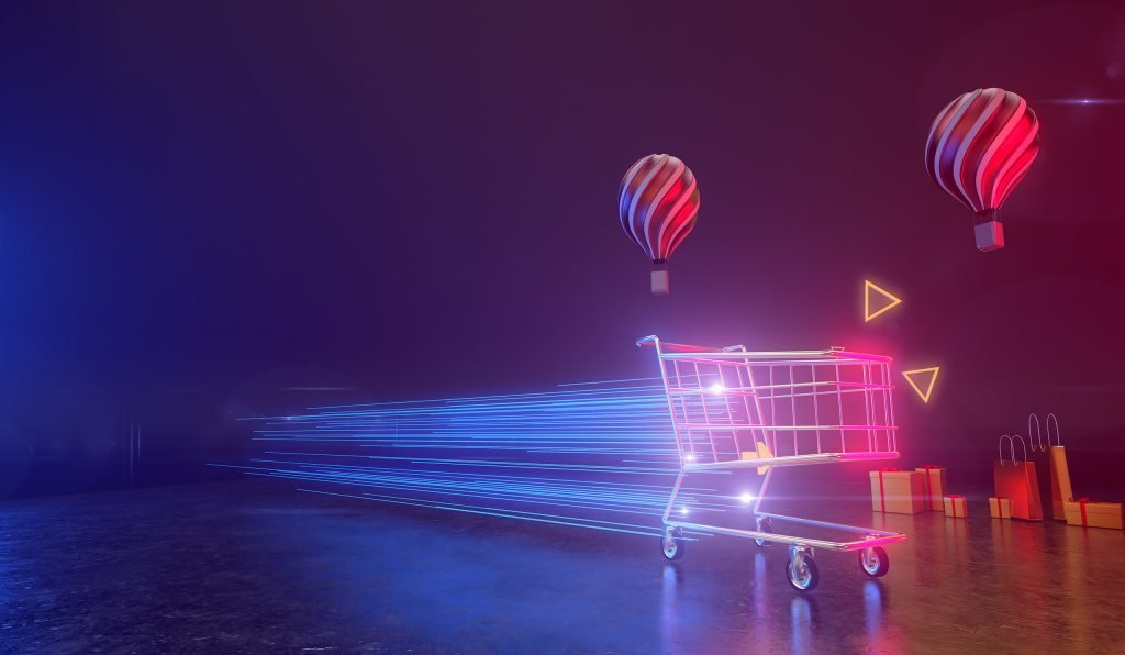 A shopping cart moves at the speed of light on a backdrop with balloons and gift boxes. All live in a futuristic atmosphere. 3D render.